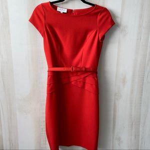 Kasper Red Sheath Dress w Belt Size 2 Petite